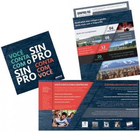 Materiais de divulgação da Campanha de Sindicalização lançada em fevereiro pelo Sinpro/RS