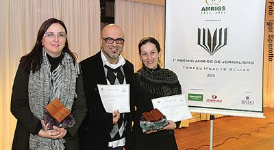 Jornalistas Valéria, César e Clarinha