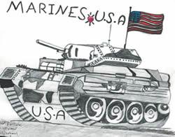 """Ao lado, desenho de um menino de dez anos intitulado Marines U.S.A. Irak, feito após uma operação norte-americana para """"libertar o Iraque"""", e exposto na galeria de arte Puffin Room de Nova Iorque (Fonte: exposição Shocked and Awed, Nova Iorque, EUA)"""