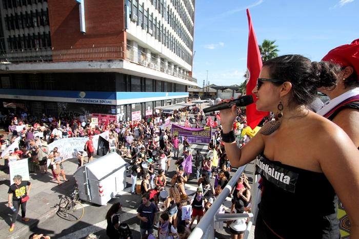 Concentração e ato em frente à sede do INSS no centro da capital