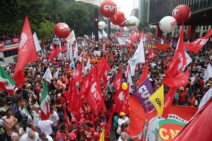 Manifestação contra mudança do sistema de Previdência, na Paulista, em março deste ano
