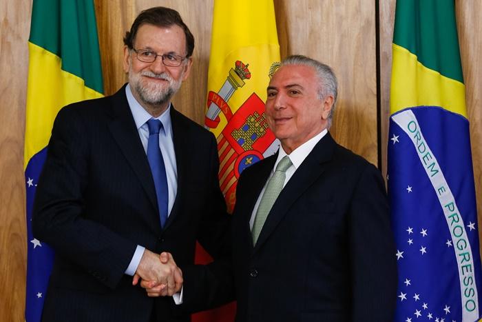 Premiê espanhol Mariano Janoy veio ao Brasil em abril para tratar com Temer das reformas trabalhista e previdenciária