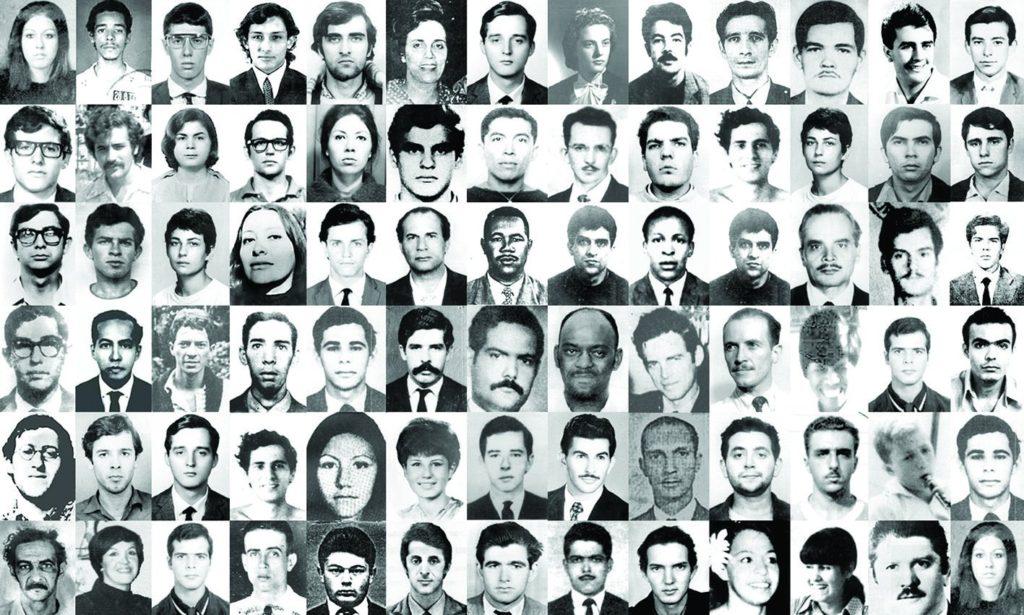 Retratos de mortos e desaparecidos durante o período da ditadura militar