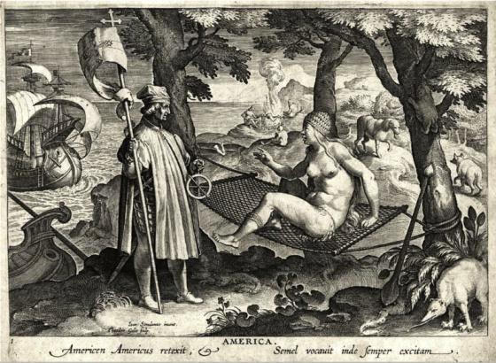"""""""Americo Vespucio descubre América"""", gravação de Theodor Galle, do século 15: as """"hamacas"""" foram introduzidas nas Antilhas e no Caribe pelos colonizadores espanhois"""