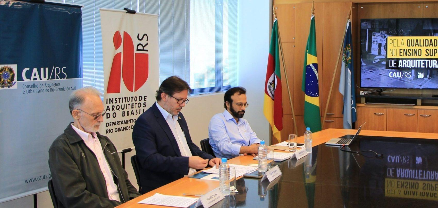Coletiva de imprensa realizada na sede do Conselho de Arquitetura e Urbanismo do Rio Grande do Sul | Foto: CAU/RS