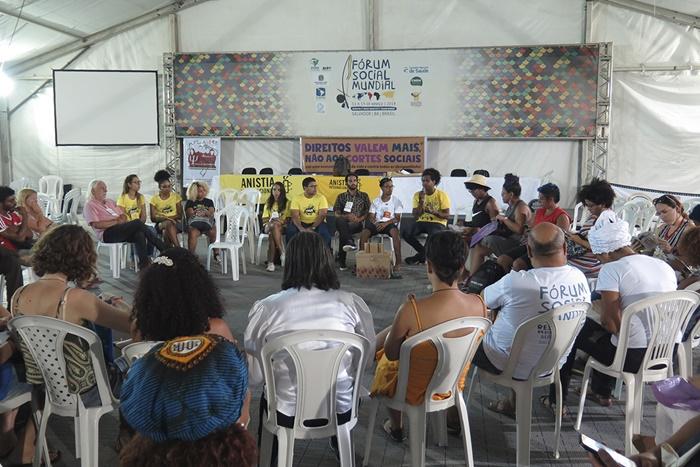Oficina QuilomBOX de educação em direitos humanos, realizada no Fórum Social Mundial, na Bahia, pela Anistia Internacional