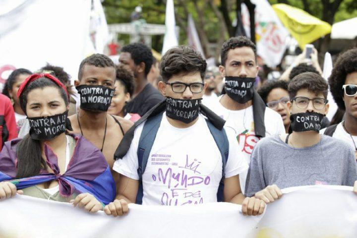 Estudantes de Goiânia em protesto contra a Lei da Mordaça