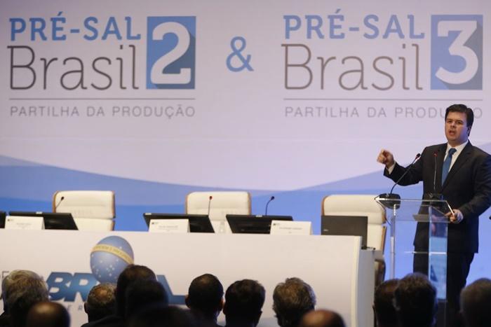 O ministro de Minas e Energia, Fernando Coelho Filho durante leilão da Agência Nacional do Petróleo, Gás Natural e Biocombustíveis (ANP) que partilha blocos do pré-sal