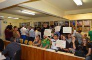 na Câmara de Vereadores de São Lourenço do Sul aprova lei da Escola Sem Partido sob protestos | foto: Nadolpho Neto/ Câmara de São Lourenço/Divulgação/