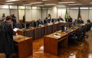 Durante o julgamento, desembargador Mauro Borba, relator do caso, determinou a imediada prisão do réu e encaminhou à Procuradoria de Justiça denúncia de violação aos direitos humanos na ação da PM | Foto: Maiara Rauber/ MST Divulgação
