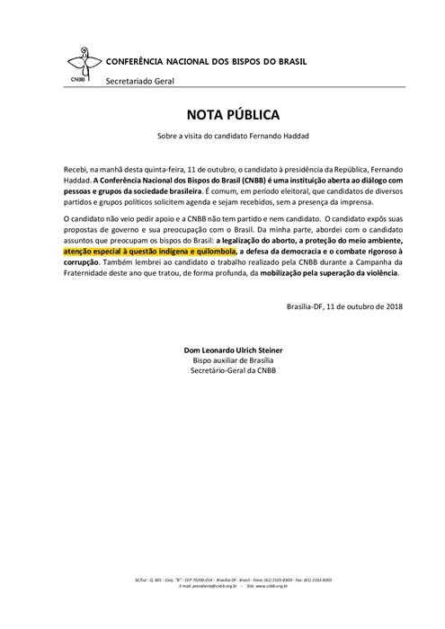 Original da nota pública da CNBB teve trecho omitido em reportagem da Rede Globo