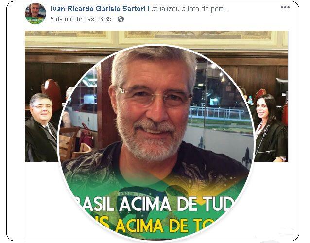 Ivan Sartori, titular da 4ª Câmara Criminal de São Paulo faz campanha para Bolsonaro em seu perfil