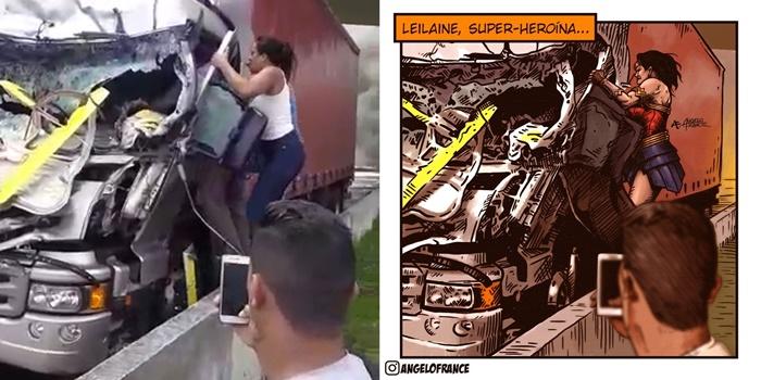 """""""Inadequado atribuir a esse gesto um ato heroico, muito menos associar Leiliane à Mulher Maravilha, pois, como ela mesma referiu """"eu simplesmente salvei alguém que precisava de ajuda, foi um ato humano""""."""