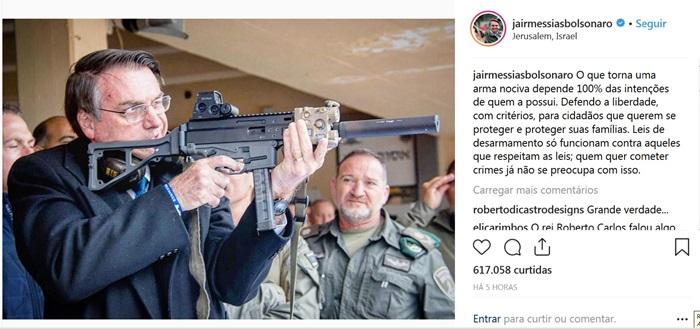 Em Israel, Bolsonaro faz apologia ao armamentismo em postagem no Instagram