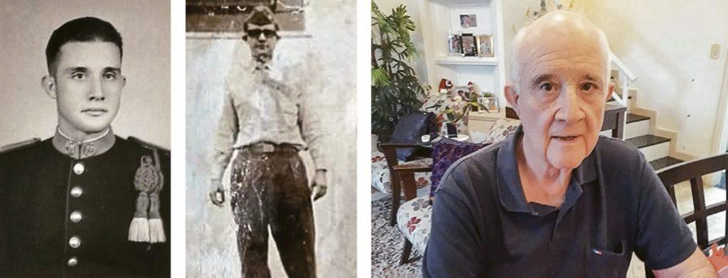 O general Bolívar em três momentos distintos: ainda cadete, em 1964 e hoje