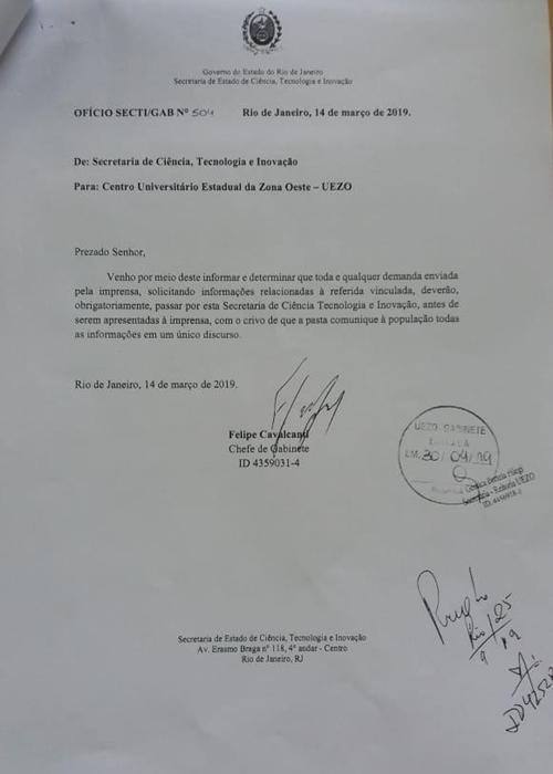 Ofício impõe censura às universidades estaduais do Rio