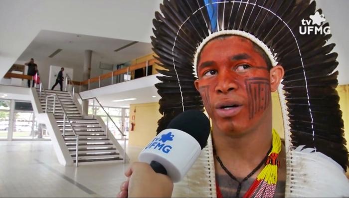 """Manoel, da etnia Xakriabá: """"estou aqui pelos 11 mil protagonistas desta história que estão nas aldeias"""""""