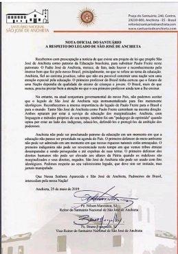 Nota do Santuário Nacional São José de Anchieta