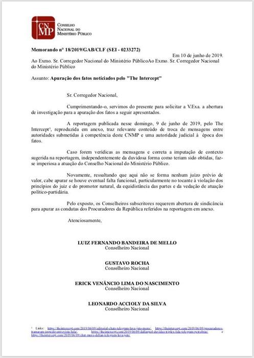 Quatro conselheiros assinaram pedido de investigação da conduta do procurador