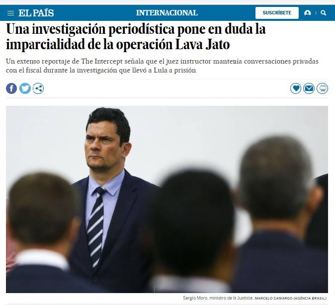 """""""Investigação jornalística põe em dúvida a imparcialidade da operação Lava Jato"""", destacou manchete do El Pais, Espanha"""