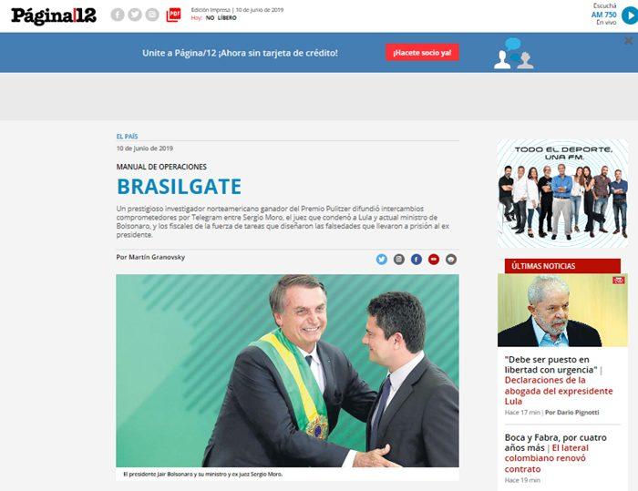 """""""Brasilgate"""", destacou o Pagina 12, da Argentina, em alusão à investigação do Washington Post que provocou a queda de Nixon nos EUA, em 1974"""