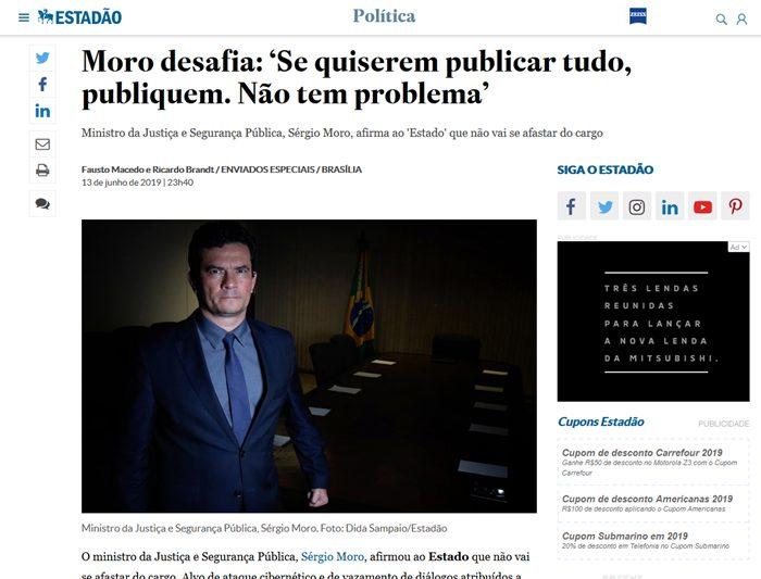 Novas conversas privadas que comprometem Moro foram reveladas pelo The Intercept depois que o ex-juiz desafiou Glenn Greenwald em entrevista ao Estadão
