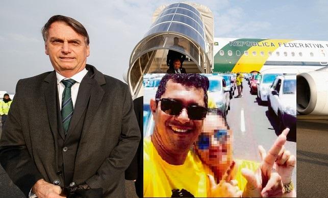 Presidente Jair Bolsonaro em viagem oficial; no detalhe, o sargento Manoel Silva Rodrigues, preso em Sevilha com 39 quilos de cocaína num avião da FAB