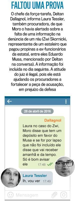 Em mensagem do dia 28 de abril de 2016, Moro orienta a procuradores a inclusão de provas na peça da acusação