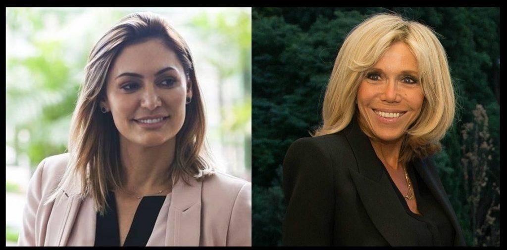 Michele Bolsonaro e Brigitte Marcon, primeiras-damas do Brasil e da França, respectivamente