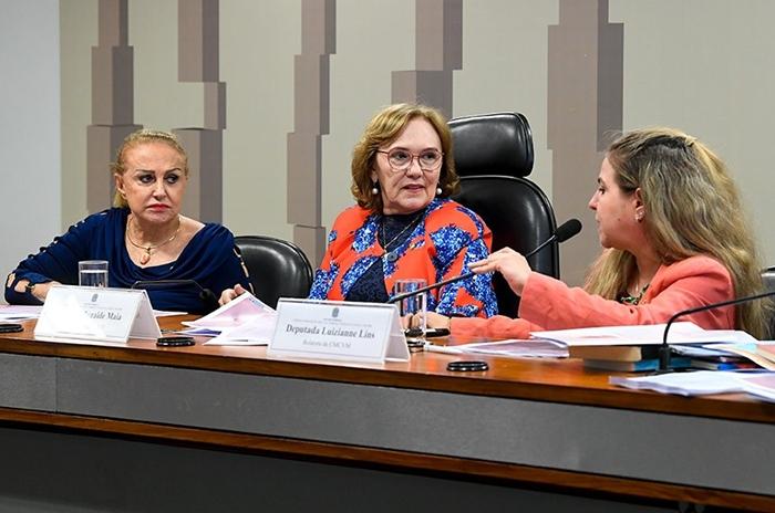 À mesa com a senadora Zenaide Maia (centro) e a deputada Elcione Barbalho, a relatora, deputada Luizianne Lins (ao microfone) sugeriu plano de trabalho para 2019 que prevê diligências e debates