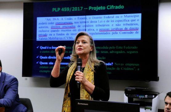 """A coordenadora nacional da Auditoria Cidadã da Dívida, Maria Lucia Fattorelli, durante audiência pública sobre a securitização de créditos: """"projeto irá promover a geração ilegal de dívida pública e desvio de arrecadação tributária"""