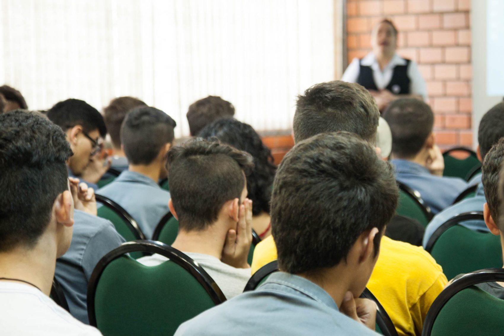 Palestra para alunos do Senai, em Montenegro, em 2017