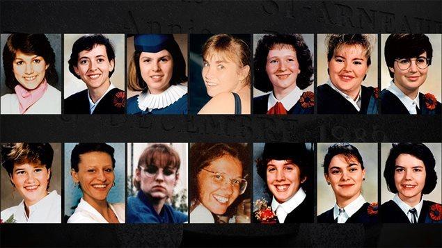 """Canadá, Em 6 de dezembro de 1989, o jovem Marc Lepine, de 25 anos, aos gritos de """"você são todas feministas!?"""", assassinou 14 mulheres à queima roupa em uma sala de aula da Escola Politécnica de Montreal e, em seguida, suicidou-se"""