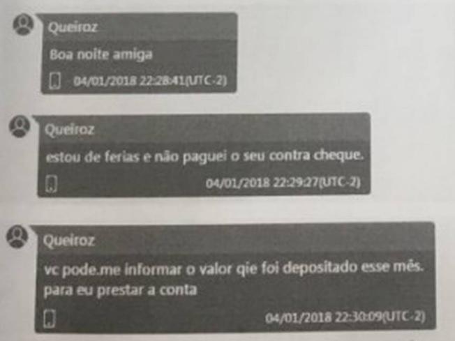 Mensagens de Queiroz para Danielle Nóbrega, mulher do miliciano e servidora fantasma do gabinete de Flávio Bolsonaro na Alerj foram interceptadas por grampo do MP