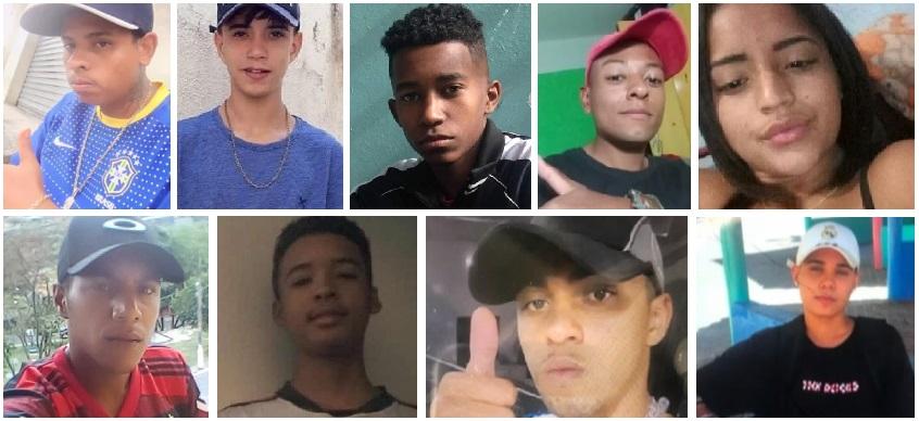 Os nove jovens mortos durante a ação da polícia tinham idades entre 14 a 23 anos
