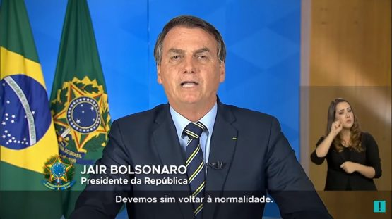 Jair Bolsonaro no pronunciamento nacional nesta segunda 24 de março de 2020 | Foto: Reprodução Youtube