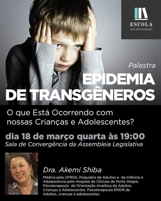 O anúncio original da palestra, que foi modificado após a reação de parlamentares e do Conselho Regional de Psicologia do RS