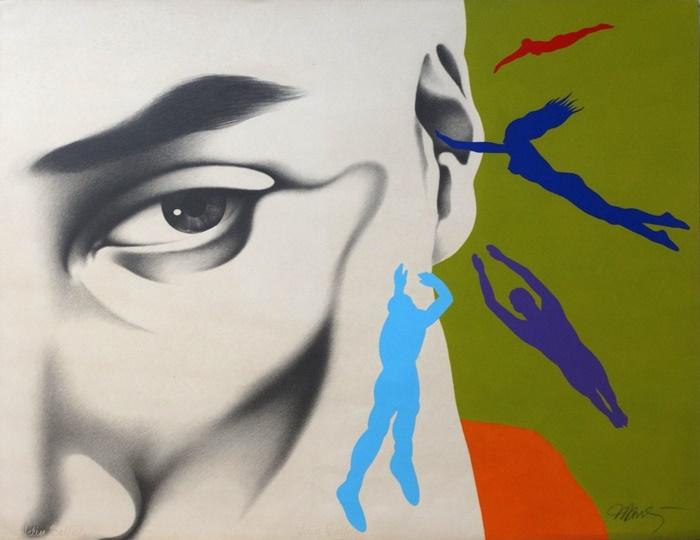 """""""Cada cabeça, uma sentença"""", grafite e tinta acrílica sobre papel (1989)"""