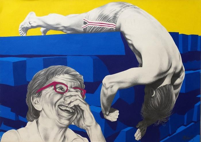 """""""Sombras"""", grafite e tinta acrílica sobre papel (1983)"""