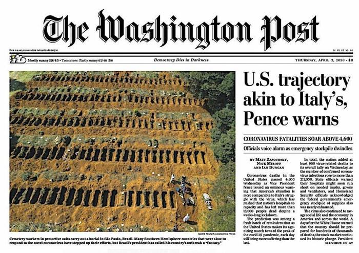Imagem do cemitério de Vila Formosa, em São Paulo, que teve 57 sepultamentos de vítimas da covid-19, estampou capa do Washington Post, com matéria que atribui o aumento da pandemia no Brasil à inação do governo