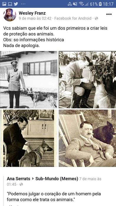 Postagens de internautas e grupos identificados com Bolsonaro fazem apologia ao nazismo abertamente nas redes sociais