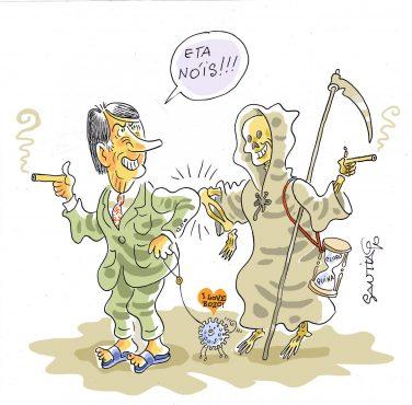 Bolsonaro com a morte - Charge - Santiago | Arte: Santiago