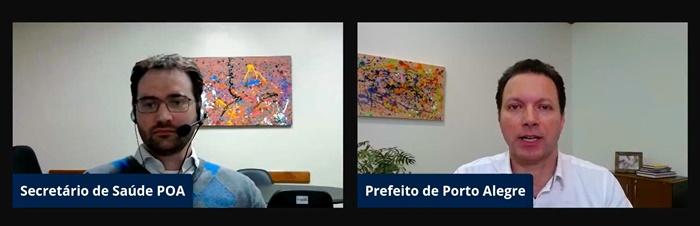 Pablo Stürmer e Marchezan em live sobre a pandemia em Porto Alegre