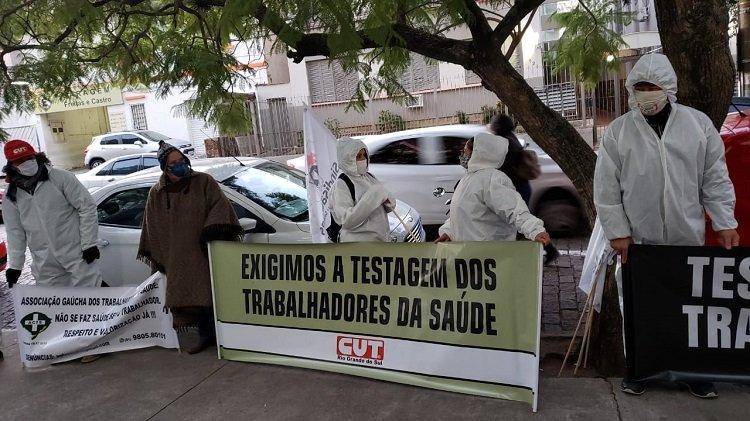 Os sindicalistas reivindicam a testagem para Covid-19 de todos os trabalhadores e trabalhadoras da saúde no Rio Grande do Sul