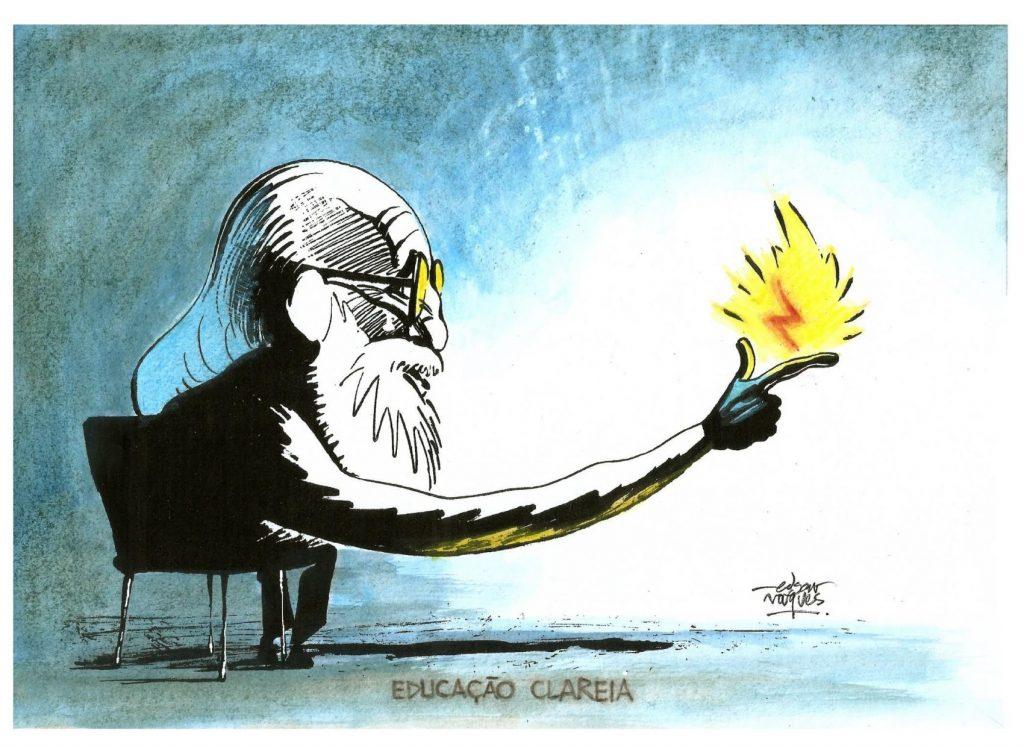 Ilustração de Edgar Vasques, que integra a coleção de cartões produzidos em parceria com a Grafar para comemorar o centenário de Paulo Freire