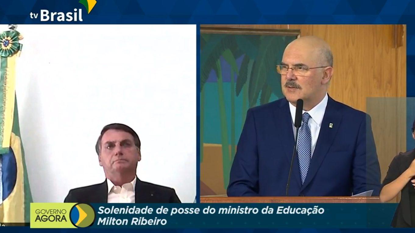 Cerimônia de posse do quarto ministro da Educação do governo Bolsonaro em menos de um ano e meio de mandato, ocorrida em 16 de julho, quando Milton Ribeiro assumiu o MEC