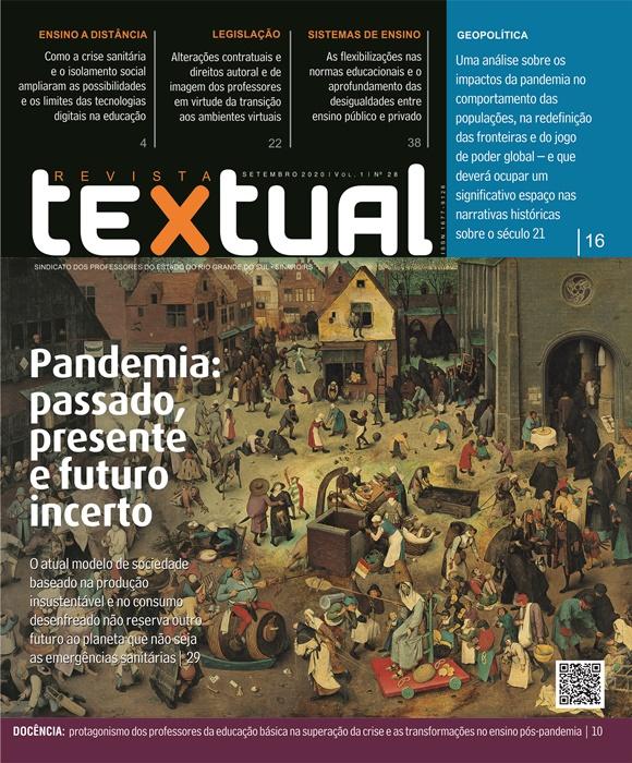 Capa da 28ª edição da revista Textual, que tem a pandemia como tema transversal dos artigos e ensaios