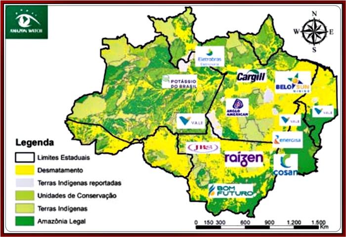 As 11 empresas e os Territórios Indígenas nos quais existem indícios de envolvimento em violações de direitos ambientais e das comunidades