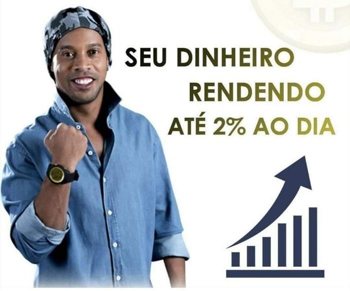 Olha o que ele fez: Ronaldinho Gaúcho em peça publicitária de um esquema de pirâmide financeira
