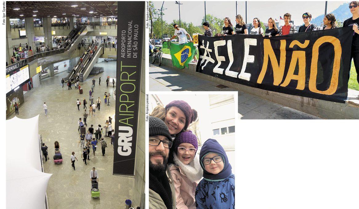 Vista do saguão do Aeroporto Internacional de Guarulhos, em São Paulo (à esquerda). Alice Adams com sua família (embaixo e à direita); Isabela Vargas, Santiago (Chile) de camisa branca acima, durante protesto; vista do saguão do Aeroporto Internacional de Guarulhos, em São Paulo (à esquerda)